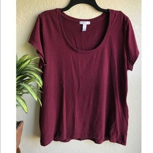 Maroon Burgundy crew scoop neck Tee Plus Size